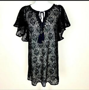 NWT Ark & Co Black Lace Gathered Rose Lined Dress